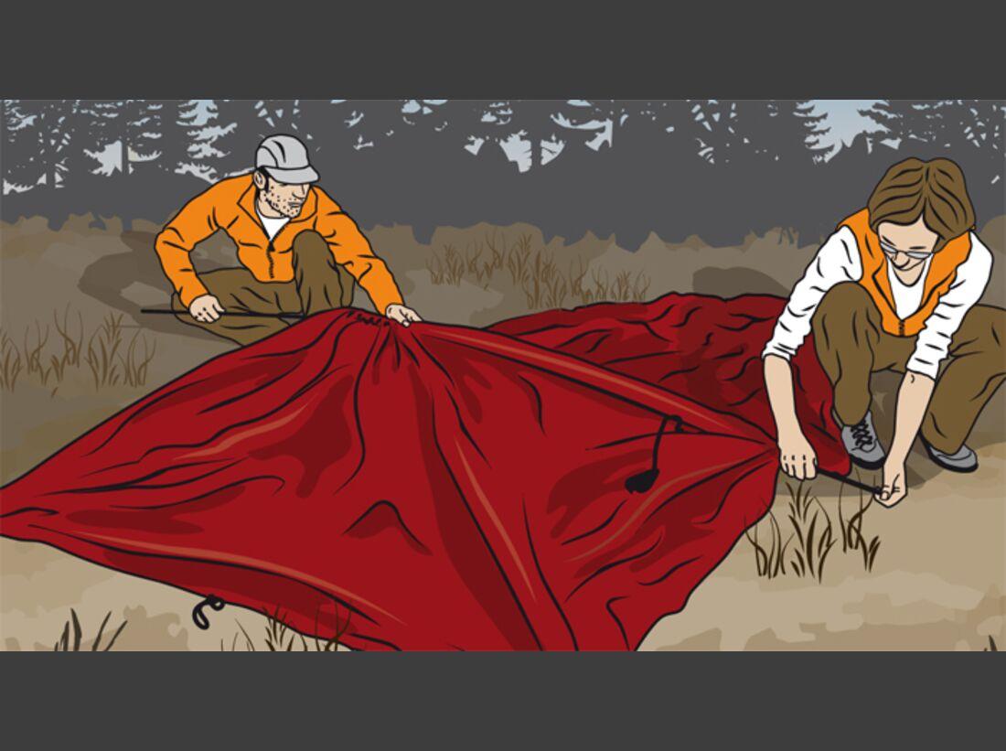 OD Tipps Zeltaufbau Gestänge einführen